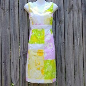 LILLY PULITZER Floral Color Block Dress Size 8